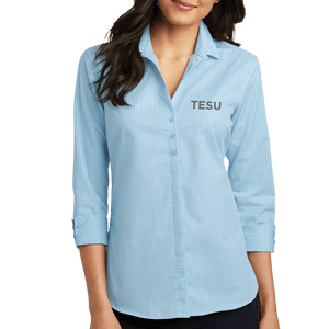Port Authority Ladies 3/4 Sleeve Micro Tattersall Easy Care Shirt - TESU Sans