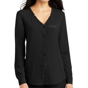 Port Authority Ladies Long Sleeve Button-Front Blouse- Academic