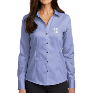 Red House Ladies Pinpoint Oxford Non-Iron Shirt- Grid