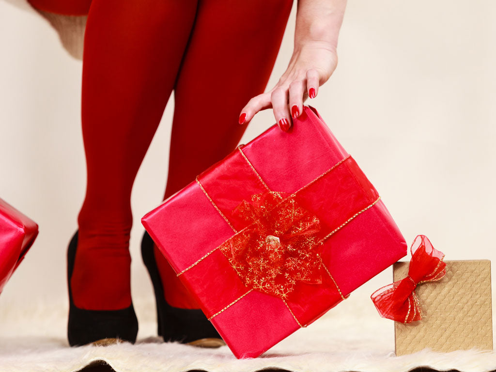 Red Pantyhose with Present
