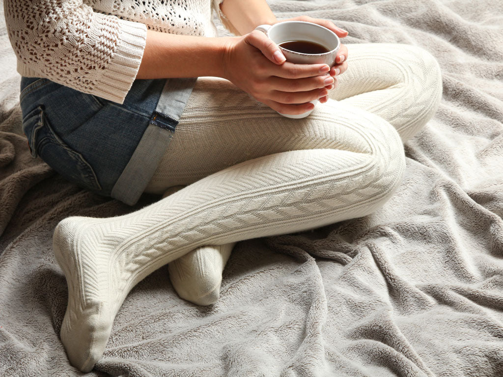 Ribbed or cable-knit for winter white pantyhose