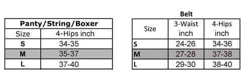 Studio Collants Garter Belt Size Chart