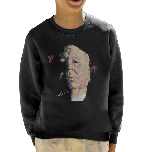 Sidney Maurer Original Portrait Of Alfred Hitchcock Portrait Kids Sweatshirt - Kids Boys Sweatshirt