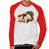 Sidney Maurer Original Portrait Of The Beatles Side Profile Mens Baseball Long Sleeved T-Shirt - Small / White/Red - Mens Baseball Long