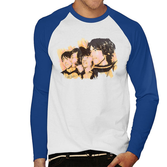 Sidney Maurer Original Portrait Of The Beatles Side Profile Mens Baseball Long Sleeved T-Shirt - Mens Baseball Long Sleeved T-Shirt
