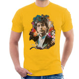 Sidney Maurer Original Portrait Of Bob Dylan Mens T-Shirt - Small / Gold - Mens T-Shirt