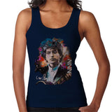 Sidney Maurer Original Portrait Of Bob Dylan Womens Vest - Small / Navy Blue - Womens Vest