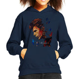Sidney Maurer Original Portrait Of David Bowie Earring Kids Hooded Sweatshirt - X-Small (3-4 yrs) / Navy Blue - Kids Boys Hooded Sweatshirt