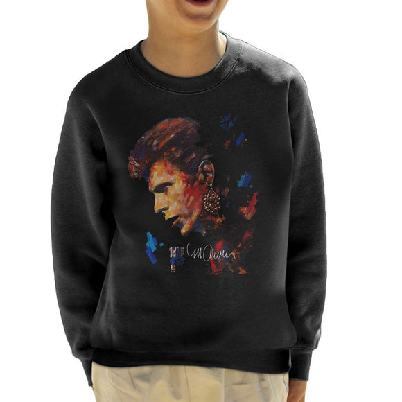 Sidney Maurer Original Portrait Of David Bowie Earring Kids Sweatshirt - Kids Boys Sweatshirt