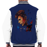 Sidney Maurer Original Portrait Of David Bowie Earring Mens Varsity Jacket - Small / Navy/White - Mens Varsity Jacket