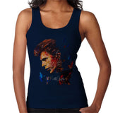 Sidney Maurer Original Portrait Of David Bowie Earring Womens Vest - Small / Navy Blue - Womens Vest