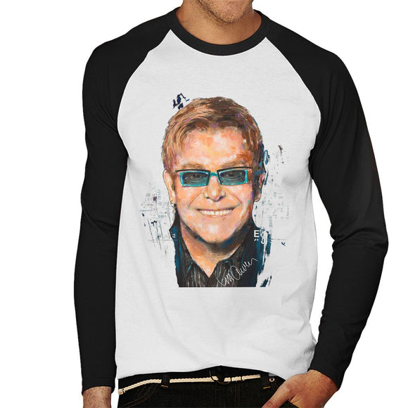 Sidney Maurer Original Portrait Of Elton John Mens Baseball Long Sleeved T-Shirt - Mens Baseball Long Sleeved T-Shirt