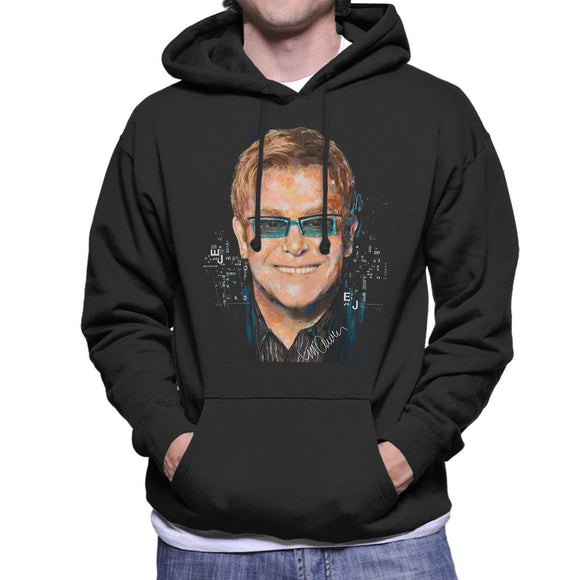 Sidney Maurer Original Portrait Of Elton John Mens Hooded Sweatshirt - Mens Hooded Sweatshirt