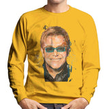 Sidney Maurer Original Portrait Of Elton John Mens Sweatshirt - Small / Gold - Mens Sweatshirt