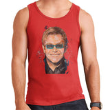 Sidney Maurer Original Portrait Of Elton John Mens Vest - Small / Red - Mens Vest