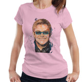 Sidney Maurer Original Portrait Of Elton John Womens T-Shirt - Small / Light Pink - Womens T-Shirt