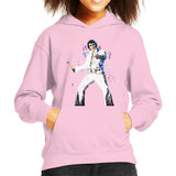 Sidney Maurer Original Portrait Of Elvis Presley Kids Hooded Sweatshirt - X-Small (3-4 yrs) / Light Pink - Kids Boys Hooded Sweatshirt