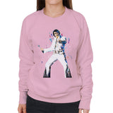 Sidney Maurer Original Portrait Of Elvis Presley Womens Sweatshirt - Small / Light Pink - Womens Sweatshirt