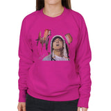 Sidney Maurer Original Portrait Of Eminem Womens Sweatshirt - Small / Hot Pink - Womens Sweatshirt