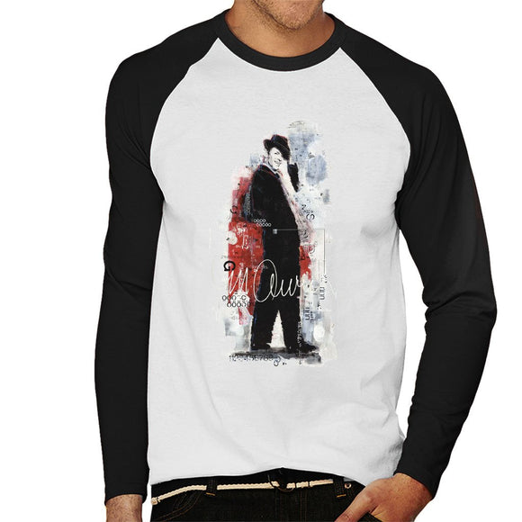 Sidney Maurer Original Portrait Of Frank Sinatra Side Shot Mens Baseball Long Sleeved T-Shirt - Mens Baseball Long Sleeved T-Shirt