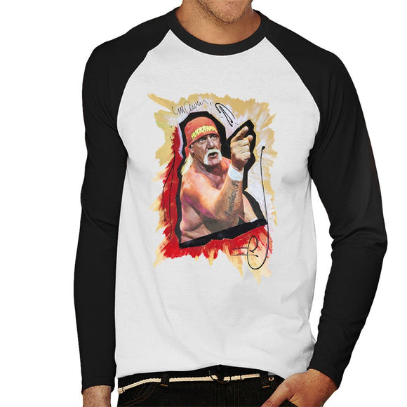 Sidney Maurer Original Portrait Of Hulk Hogan Mens Baseball Long Sleeved T-Shirt - Mens Baseball Long Sleeved T-Shirt