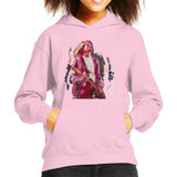 Sidney Maurer Original Portrait Of Kurt Cobain Guitar Kids Hooded Sweatshirt - X-Small (3-4 yrs) / Light Pink - Kids Boys Hooded Sweatshirt