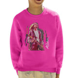 Sidney Maurer Original Portrait Of Kurt Cobain Guitar Kids Sweatshirt - X-Small (3-4 yrs) / Hot Pink - Kids Boys Sweatshirt