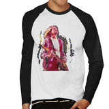 Sidney Maurer Original Portrait Of Kurt Cobain Guitar Mens Baseball Long Sleeved T-Shirt - Mens Baseball Long Sleeved T-Shirt