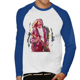 Sidney Maurer Original Portrait Of Kurt Cobain Guitar Mens Baseball Long Sleeved T-Shirt - Small / White/Royal - Mens Baseball Long Sleeved