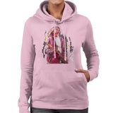 Sidney Maurer Original Portrait Of Kurt Cobain Guitar Womens Hooded Sweatshirt - Small / Light Pink - Womens Hooded Sweatshirt