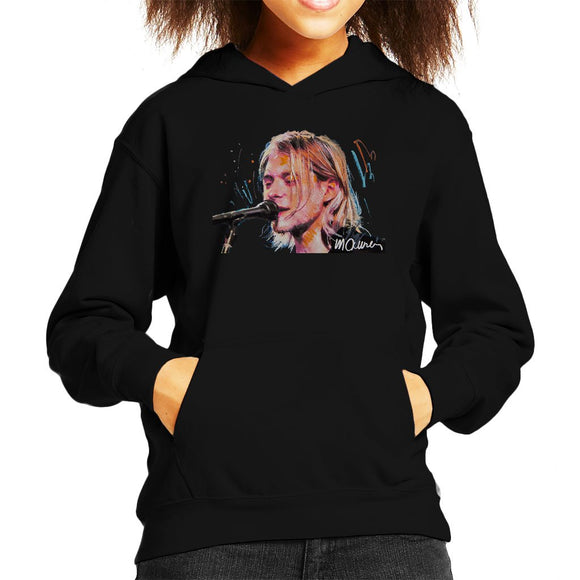 Sidney Maurer Original Portrait Of Kurt Cobain Singing Kids Hooded Sweatshirt - Kids Boys Hooded Sweatshirt
