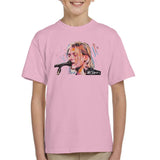 Sidney Maurer Original Portrait Of Kurt Cobain Singing Kids T-Shirt - X-Small (3-4 yrs) / Light Pink - Kids Boys T-Shirt