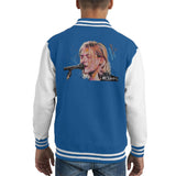 Sidney Maurer Original Portrait Of Kurt Cobain Singing Kids Varsity Jacket - X-Small (3-4 yrs) / Royal/White - Kids Boys Varsity Jacket