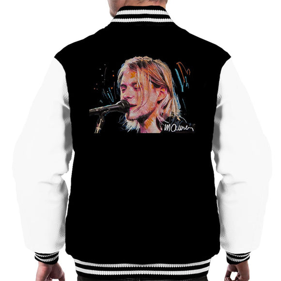 Sidney Maurer Original Portrait Of Kurt Cobain Singing Mens Varsity Jacket - Mens Varsity Jacket