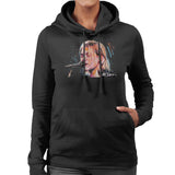 Sidney Maurer Original Portrait Of Kurt Cobain Singing Womens Hooded Sweatshirt - Womens Hooded Sweatshirt