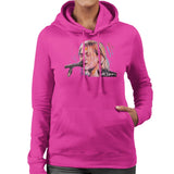 Sidney Maurer Original Portrait Of Kurt Cobain Singing Womens Hooded Sweatshirt - Small / Hot Pink - Womens Hooded Sweatshirt