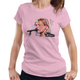 Sidney Maurer Original Portrait Of Kurt Cobain Singing Womens T-Shirt - Small / Light Pink - Womens T-Shirt