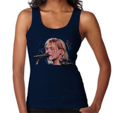 Sidney Maurer Original Portrait Of Kurt Cobain Singing Womens Vest - Small / Navy Blue - Womens Vest