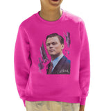Sidney Maurer Original Portrait Of Leonardo DiCaprio Kids Sweatshirt - X-Small (3-4 yrs) / Hot Pink - Kids Boys Sweatshirt