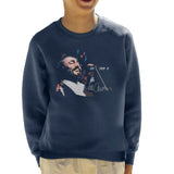Sidney Maurer Original Portrait Of Luciano Pavarotti Kids Sweatshirt - X-Small (3-4 yrs) / Navy Blue - Kids Boys Sweatshirt