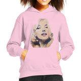 Sidney Maurer Original Portrait Of Marilyn Monroe Kids Hooded Sweatshirt - X-Small (3-4 yrs) / Light Pink - Kids Boys Hooded Sweatshirt