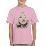 Sidney Maurer Original Portrait Of Marilyn Monroe Kids T-Shirt - X-Small (3-4 yrs) / Light Pink - Kids Boys T-Shirt