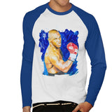 Sidney Maurer Original Portrait Of Mike Tyson Mens Baseball Long Sleeved T-Shirt - Small / White/Royal - Mens Baseball Long Sleeved T-Shirt