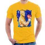 Sidney Maurer Original Portrait Of Mike Tyson Mens T-Shirt - Small / Gold - Mens T-Shirt