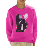Sidney Maurer Original Portrait Of Michael Jackson White Glove Kids Sweatshirt - X-Small (3-4 yrs) / Hot Pink - Kids Boys Sweatshirt