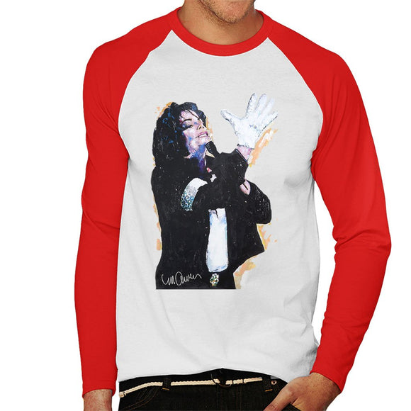 Sidney Maurer Original Portrait Of Michael Jackson White Glove Mens Baseball Long Sleeved T-Shirt - Mens Baseball Long Sleeved T-Shirt