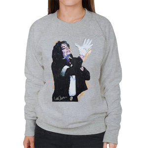 Sidney Maurer Original Portrait Of Michael Jackson White Glove Womens Sweatshirt - Womens Sweatshirt