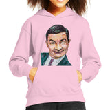 Sidney Maurer Original Portrait Of Mr Bean Rowan Atkinson Kids Hooded Sweatshirt - X-Small (3-4 yrs) / Light Pink - Kids Boys Hooded