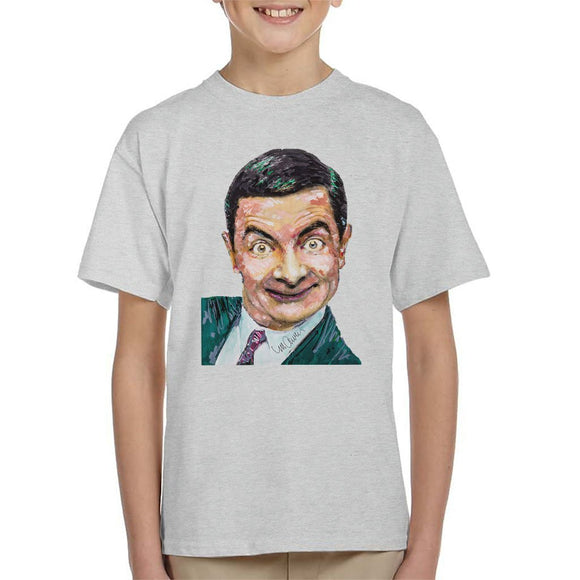 Sidney Maurer Original Portrait Of Mr Bean Rowan Atkinson Kids T-Shirt - Kids Boys T-Shirt