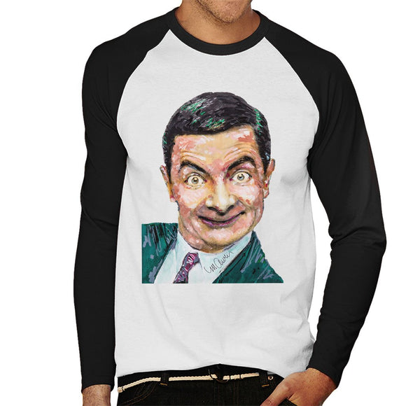 Sidney Maurer Original Portrait Of Mr Bean Rowan Atkinson Mens Baseball Long Sleeved T-Shirt - Mens Baseball Long Sleeved T-Shirt